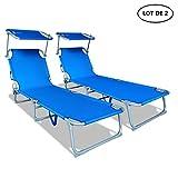 VOUNOT Lot de 2 Chaise Longue Bain de Soleil avec Pare Soleil | Transat Pliable avec Parasol | Bain De Soleil inclinable en...