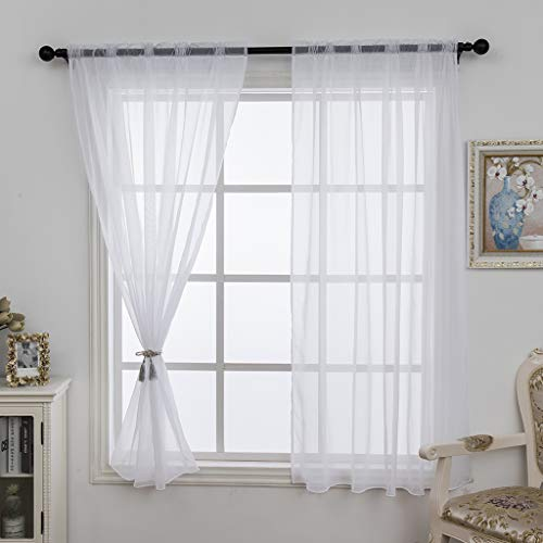 ZebraSmile 1 Pair Rod Pocket White Sheer Curtain Elegant Lightweight Voile Panel Drapes for Living Room and Sliding Glass Door Kitchen Bedroom Divider Sheers Drapery Window Treatment 63 inch Long
