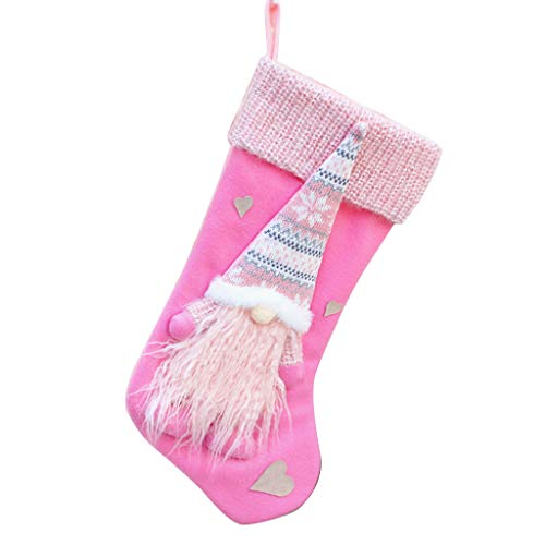 Vxkbiixxcs-o Christmas Stocking, Christmas Stocking Sock Swedish Gnome Xmas Decoration Hanging Fireplace Xmas Tree Pendant Ornament Candy Gift Bag Pink