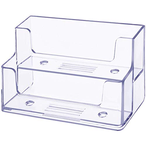 Vndeful 2 Pcs Clear Business Card Holder 2 Tiers Plastic Card Stand Organizer Card Holder Display for Home Office, 120 Cards Capacity