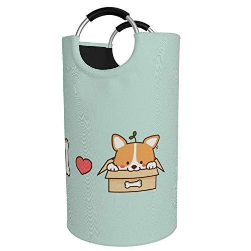 Sunmuchen Cesta de lavandería I love you dog bone shiba inu, impermeable, grande, organizador para ropa, juguetes, dormitorio, baño, con asas de aluminio