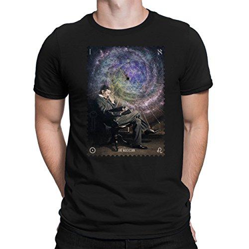 PAPAYANA - Nikola-Tesla-Magician - Herren Fun T-Shirt - Bedruckt - M Schwarz