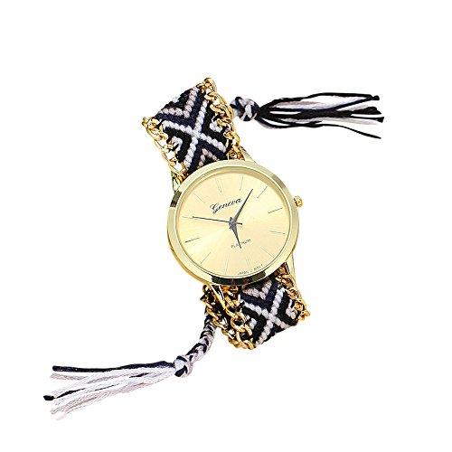 Boho Armbanduhr Hippie Uhr Style schwarz weiß geflochten