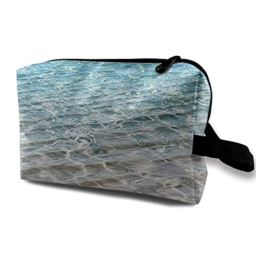Bolsa de maquillaje transparente de agua de mar para mujeres, bolsas de maquillaje de viaje, bolsa de aseo espaciosa, organizador de accesorios con cremallera