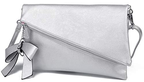 Clutch 2 en 1 – Pequeño bolso elegante de noche – Bolso de hombro para mujer – Correa desmontable – Incluye lazo, plata (Plateado) - LO-17