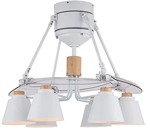 Ventilador de techo invisible Luz de hierro forjado Nordic 6 Lámpara Araña Ventilador Mute Lámpara de ventilador Restaurante Ventilador Fan Leche de techo para sala de estar Dormitorio