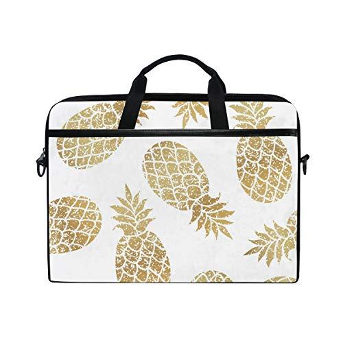 WXLIFE Golden Gold Pineapple Print 13 13.3 14 Inch Laptop Shoulder Messenger Bag Case Sleeve Briefcase with Handle Strap for Men Women Boys Girls