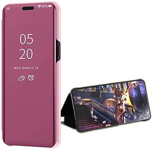 LsYun Coque Compatível com Xiaomi Redmi Note 9 Capa Capa Fina Espelho Ultra Fino Flip PU + Capa TPU Capa 360 ° à prova de choque Chapeamento Espelho de Proteção Bumper Bumper-Roxo