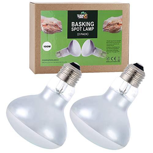 LUCKY HERP 2-Pack 100W Reptile Heat Bulb, Basking Spot Heat...