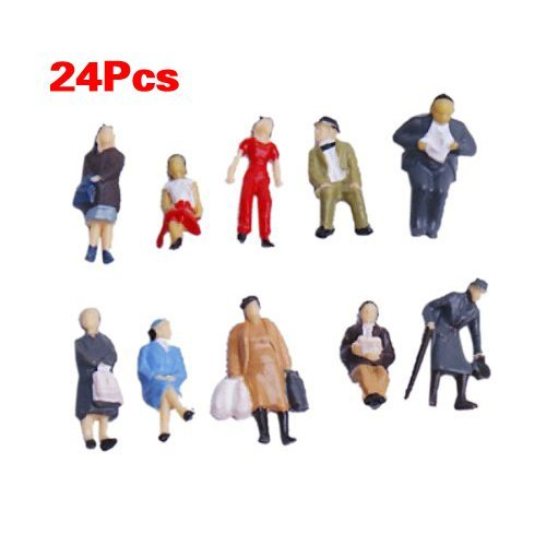 JinZhiCheng - Figuras de tren, 24 unidades, escala 1:87