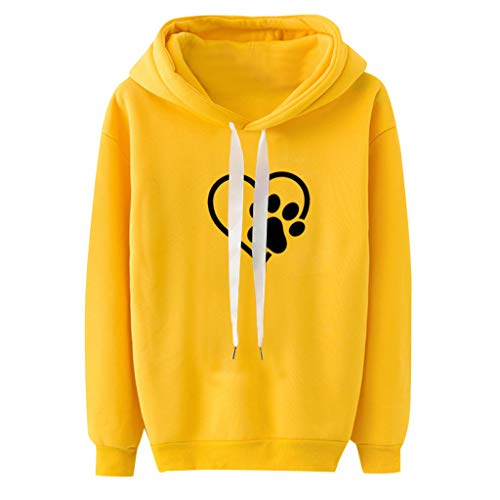 Benficial Womens Sweatshirts Women Long Sleeve Casual Hooded Sweatshirt Pullover Top Blouse 2019 New Yellow