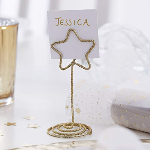 Ginger Ray Place Card Holders 6 Pack Glitter Dorati, Metallo, Oro
