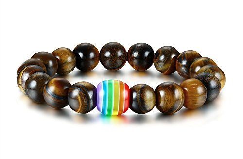 Vnox 2PCS Regenbogen - Handgemacht Tigerauge Stein Armband - Gay &Lesbian Pride