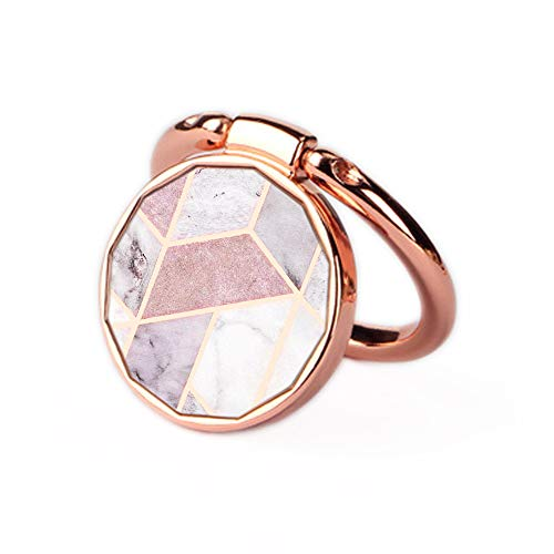 Phone Ring Holder Stand Rose Gold Oddss Pink Geometric Marble Universal Thin Finger Ring Grip 360