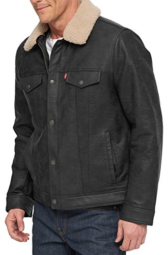 Price comparison product image Levi's Men's Big Faux Leather Trucker Jacket with Detachable Collar,  Black,  2X-Large Tall