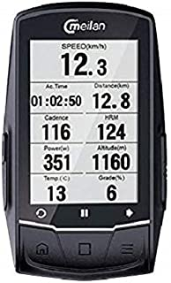 Meilan M1 GPS Cycling/Bike Computer Navigation Speedometer, Heart Rate and Power Compatible - Downloadable Data iOS,Android, Strava and Garmin Connect formats
