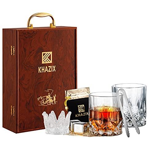 KHAZIX Whiskey Gift Set for Men - Whiskey Glass Set of 2   4 Whiskey...