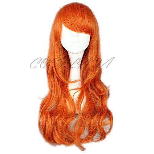 COSPLAZA largo ondulado Naranja Anime de Cosplay pelucas Lovely One Piece Nami Cabello