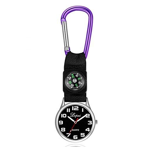 Dilwe Sportuhr, Lässige Multifunktions Kompassuhr mit einem Karabinerhaken an der Taschenlaufuhr für Camping(Violett)
