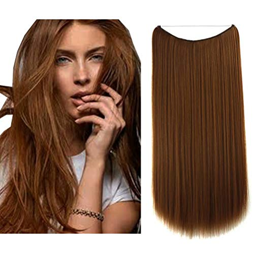 iLUU Synthetic Hair #30 Light Auburn Brown Fashion Color Flip in Secret Halo Hair Extension 24' 80g Thick Long Invisible Wire Fish Line Flip in Straight Hair Extensions