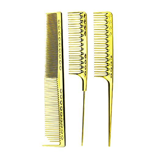 Huante Lot de 3 peignes de barbier antistatiques Doré