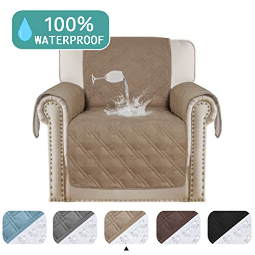 Turquoize Waterproof Sofa Slipcover Chair Protector Cover for Living Room Non-Slip Couch Covers for Dogs Pet Quilted Furniture Covers Machine Washable Protects from Kids, Dogs, Cats (Chair, Taupe)