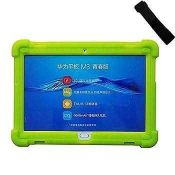 MingShore Case for Huawei Mediapad M3 Lite 10 Model BAH-W09 BAH-L09 BAH-AL00 10.1 Inch Tablet Silicone Rugged Case Green