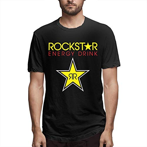Weiopat Men's Rockstar-Energy-Drink Casual T Shirt,Black,Medium
