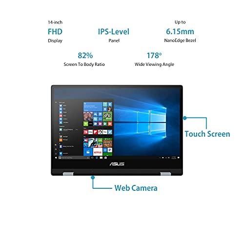 "ASUS VivoBook Flip 14 (2020), Intel Core i3-10110U 10th Gen, 14"" (35.56cms) FHD Touch, 2-in-1 Laptop (8GB/256GB SSD/Office 2019/Windows 10/Integrated Graphics/Blue/1.5 kg), TP412FA-EC382TS"