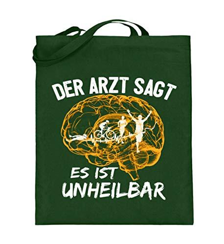 Camiseta de triatlón, idea de regalo para triatletas, con frase en alemán Es incurable, bolsa de yute (con asas largas), 38-42 cm, color verde