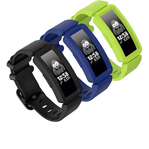 GVFM Compatible with Fitbit Ace 2 Bands for Kids 6+, Soft Silicone Bracelet Accessories Sport Strap Boys Girls bands Compatible for Fitbit Ace 2 (3-Black, Blue, Lime)