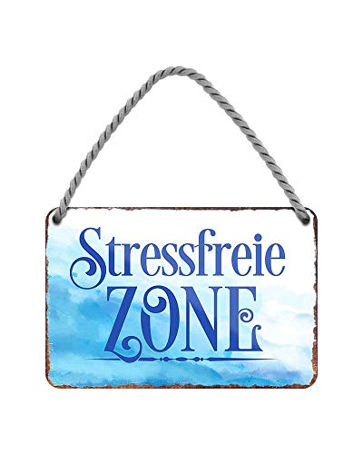 Stressfreie Zone Hängeschild - Metallschild mit Kordel und Saugnapf - Dekoration für Strandkorb Badezimmer Garten Balkon Terrasse Eingang Lieblingsplatz Yogaraum Aufenthaltsraum Ruhezone - 18x12cm