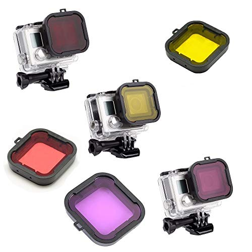 Kate&Yur 3 Pack Dive Filter for Hero 3+ Hero 4 (for Underwater case Size: 36x33.5 (mm)) - Red Filter, Yellow Filter and Magenta Filter - Enhancing Colors for Various Underwater Video and Photography