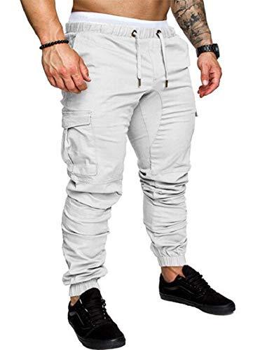THWEI Men's Cargo Pants Slim Fit Casual Jogger Pant Chino Trousers Sweatpants(White,L)