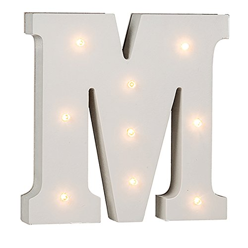 schenken-24 Beleuchtete Buchstaben (A - Z) mit LED-Birnchen, weiß, ca. 16 cm Höhe, Buchstaben:M
