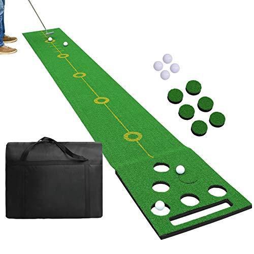 SHOWTIMEZ Golf Puttingmatte Übungsmatte, Indoor Outdoor Golf Putting Green Matte Set für Zuhause Büro