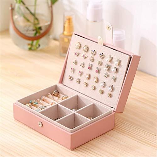 Joyero Lady Pu Leather Universal Jewelry Organizer Display Travel Jewelry Case Cajas Caja De Joyería Portátil Botón De Almacenamiento De Cuero