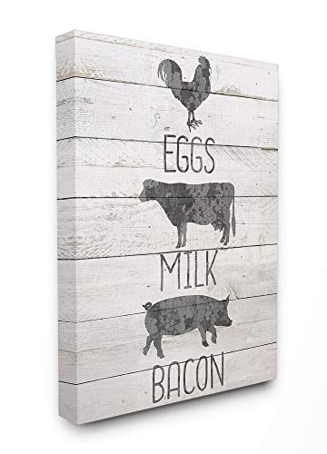 Stupell Industries Farmhouse Planked Look Eggs Milk and Bacon Typography with Chicken Cow and Pig Canvas Wall Art, 24 x 30, Multi-Color