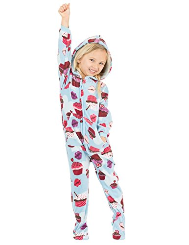 Footed Pajamas - Blue Cupcakes Toddler Hoodie Fleece Onesie (Toddler - Small (Fits 2'8-2'11'))
