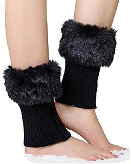 Qchomee, Polainas cortas de invierno, leggings cálidos, medianos, tejidos, punto térmico, medias bajas, piernas, medias de piel sintética, calcetín elástico con mangas de pierna.