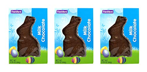 Solid Milk Chocolate Easter Bunny Rabbit, 2.25 Ounce, Pack of 3 from Frankford