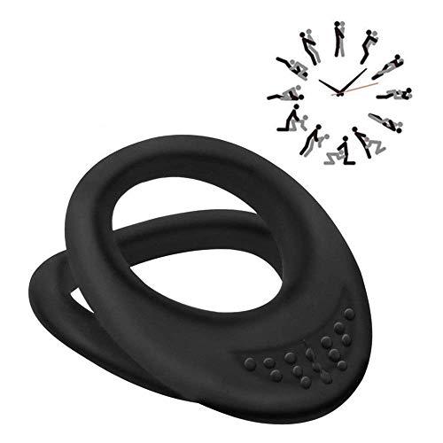 Set doppio anello in silicone morbido per uomo - Anello nero per uomo - Migliore idea per regalo