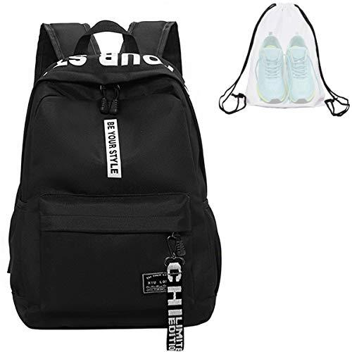 Schulrucksack Teenager Mädchen Schultaschen Canvas Schulrucksäcke wasserdichte Große mit klarer Rucksack Schulrucksack Schultasche Backpack Daypacks für 12-15.6 Zoll Laptop Notebook(A-Schwarz)
