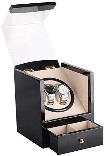 OH Automatic Watch Winder Box,Wooden with Motor Display Case Box Organizer Black Fit Ac or Dc Powered for 2 Wrist Watches Watch Holiday Gift