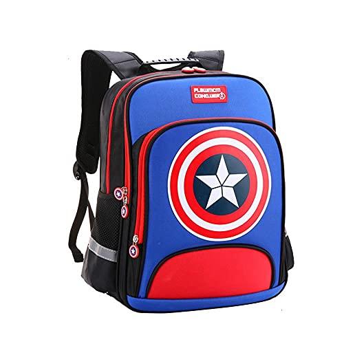 BCCDP Marvel Mochila para niños Avengers Capitan America,Mochila para niños, Mochila Informal para niños y niñas, Adecuado: Grado 1-2 (Altura 100 cm ~ 120 cm)