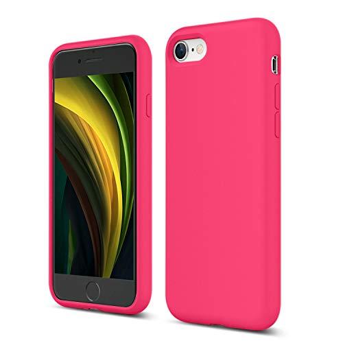 ZUSLAB Nano Silicone Funda para iPhone SE 2020/iPhone 7/iPhone 8 Case Líquido de Silicona Gel Rosa Caliente
