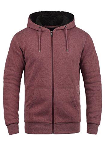 !Solid BertiZip Pile Herren Sweatjacke Kapuzen-Jacke Zip-Hoodie mit Teddyfutter aus hochwertigem Baumwollmaterial Meliert, Größe:M, Farbe:Wine Re P (P8985)