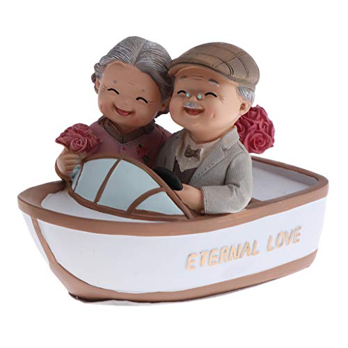 Perfeclan OLD MARRIED COUPLE FIGURE FIGURINE STATUES HOME GARDEN ORNAMENTS DECOR - Multicolor, Rowing Boat