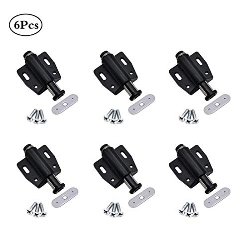 Concisea 6 Stück Magnet Druckschnäpper Schnäpper Federschnäpper,Magnetverschluss für Schrank Schublade,Magnetische Entriegelungsriegel zum Öffnen Schließen der Tür mit einem Tastendruck.(Schwarz)