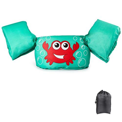 Schwimmflügel Schwimmweste mit Schultergurt für Kinder Kleinkinder von 2-7 Jahre 15-30kg Schwimmen Lernen Schwimmhilfe mit verschiedenen Designs für Jungen und Mädchen (Krabbe)